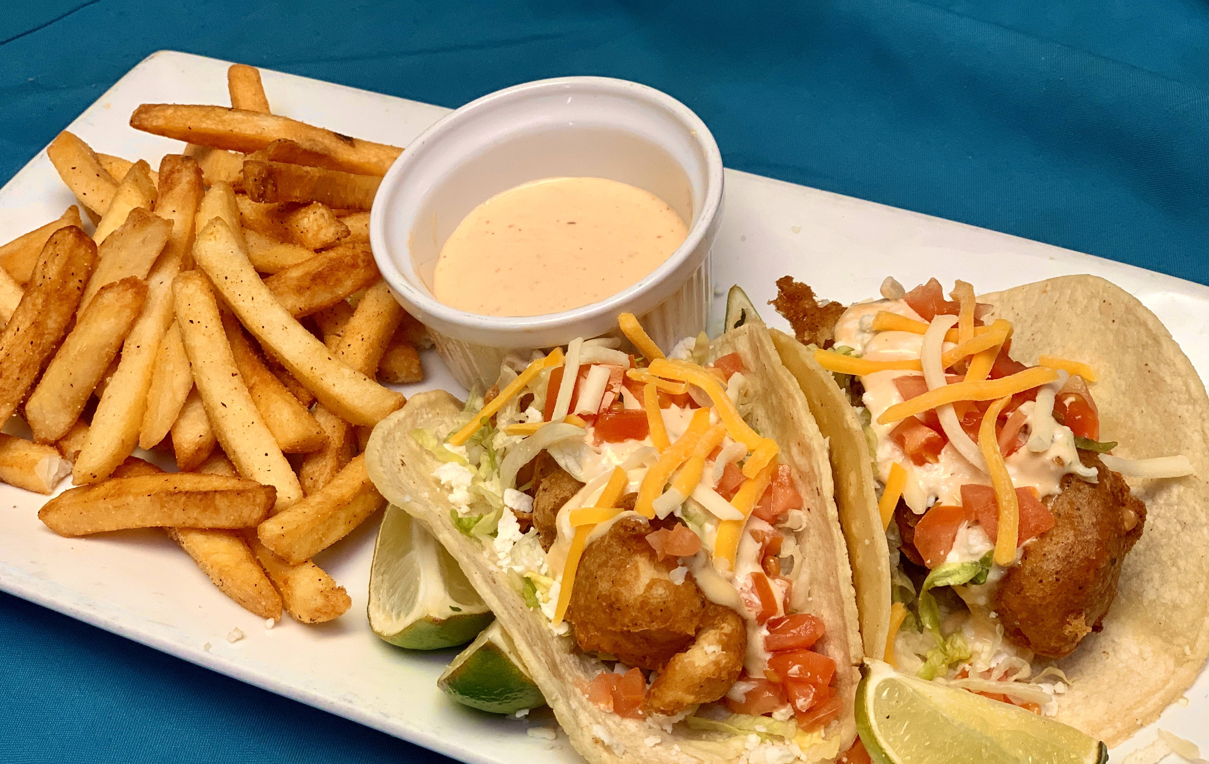 Beer Batter Fried Fish Tacos at Guadalajara Grill, Bar, & Table Side Salsa in Tucson Arizona.