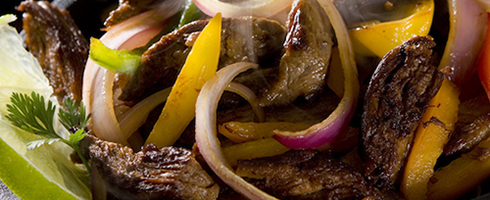 Grilled Steak Fajitas at Guadalajara Grill, Bar, & Table Side Salsa in Tucson Arizona.